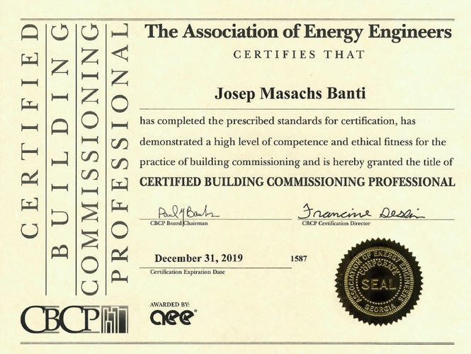 CBCP – Certified Building Commissioning Professional – Proisotec